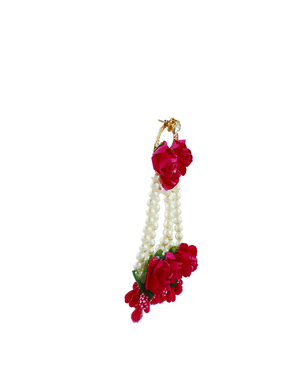 Ruby Pink Color Foam Flower With Pearl Beads Studded Droplet Earrings With Maang Tikka