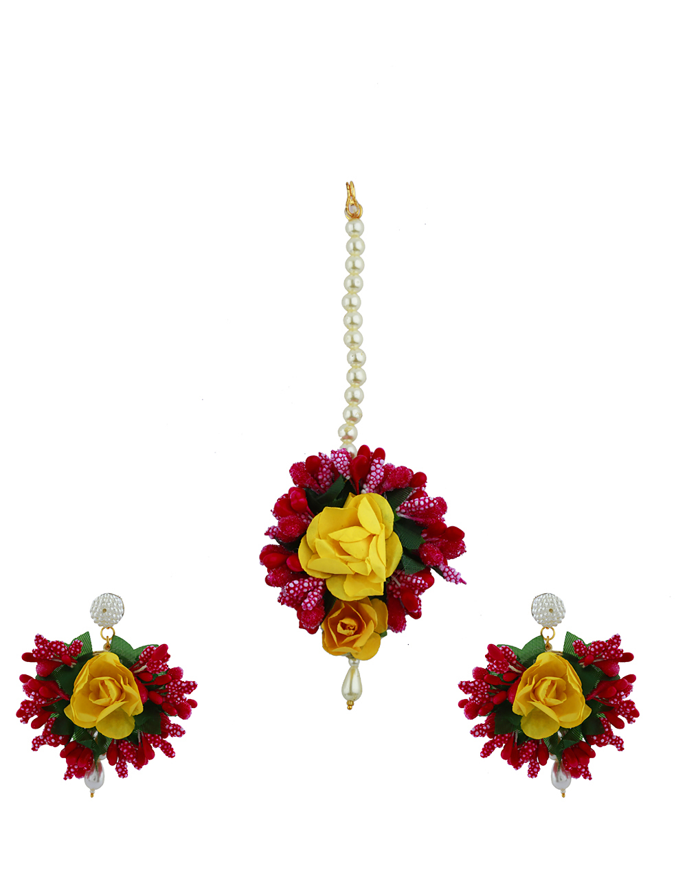 Ruby Pink And Yellow Color Foam Flower With Pearl Beads Studded Earrings With Maang Tikka