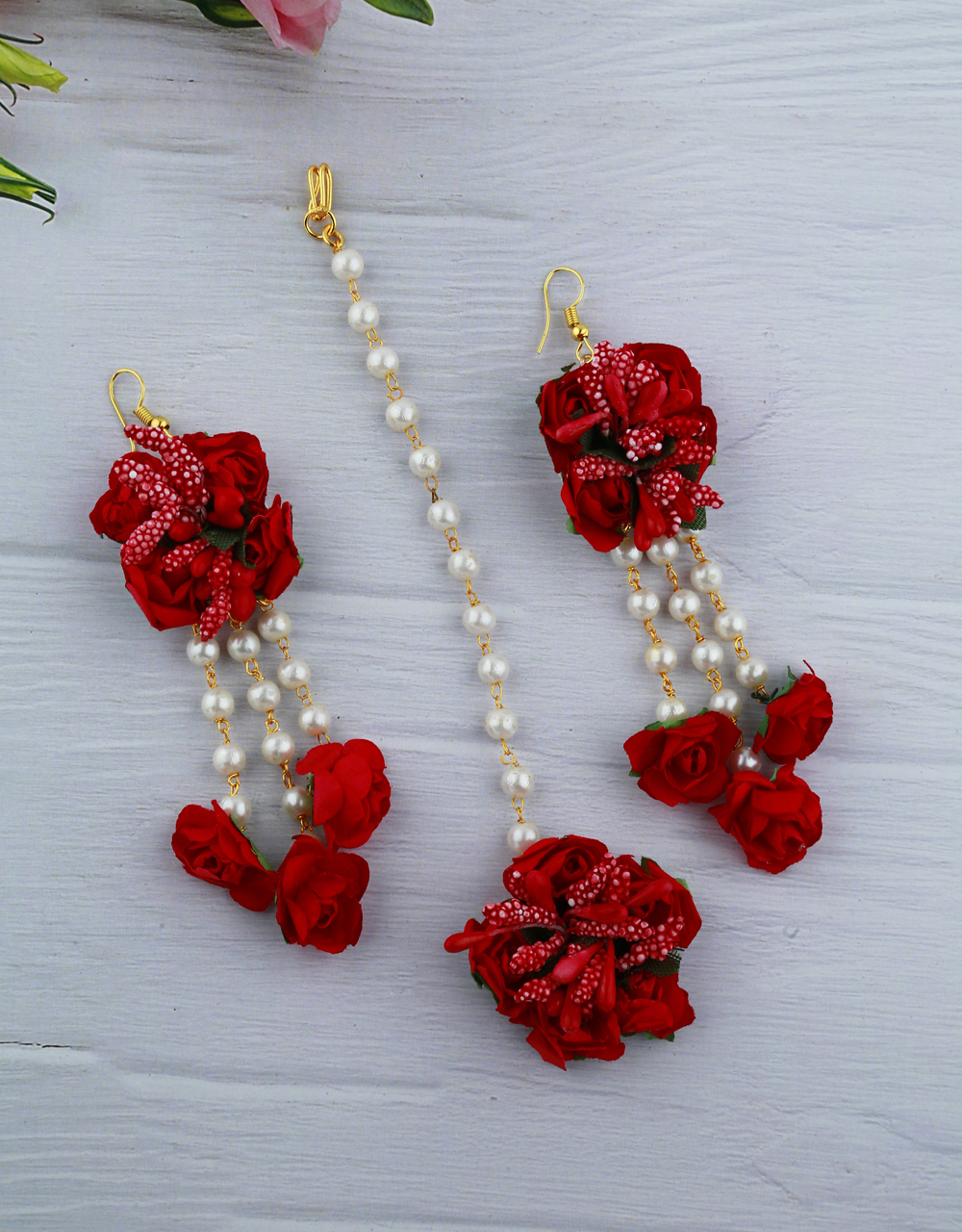 Red And Green Color Foam Flower With Pearl Beads Studded Droplet Earrings With Maang Tikka