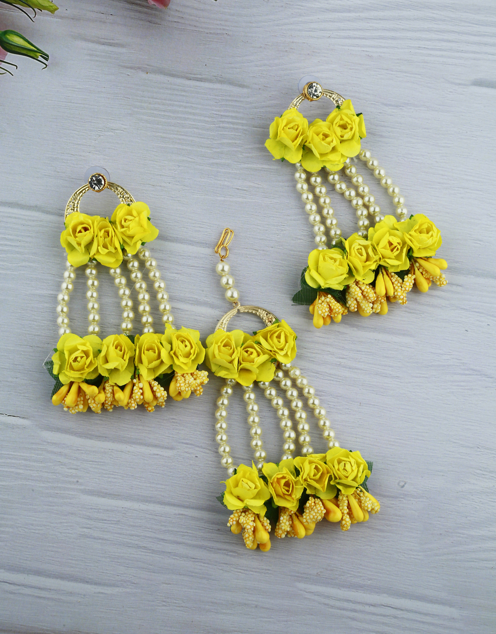 Turmeric Yellow Color Foam Flower With Pearl Beads Studded Droplet Earrings With Maang Tikka