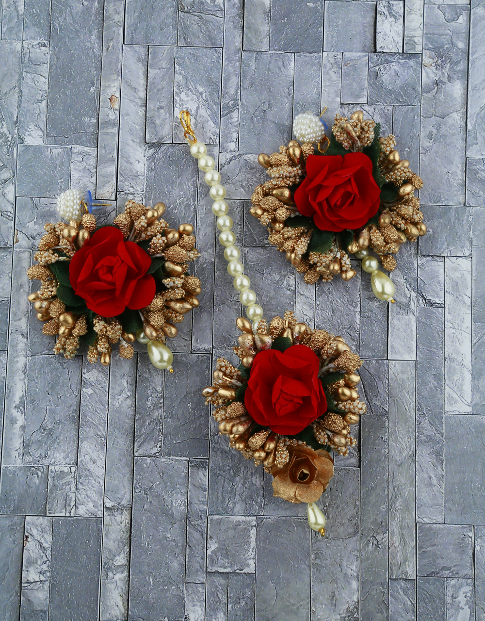Red And Golden Color Foam Flower With Pearl Beads Studded Earrings With Maang Tikka