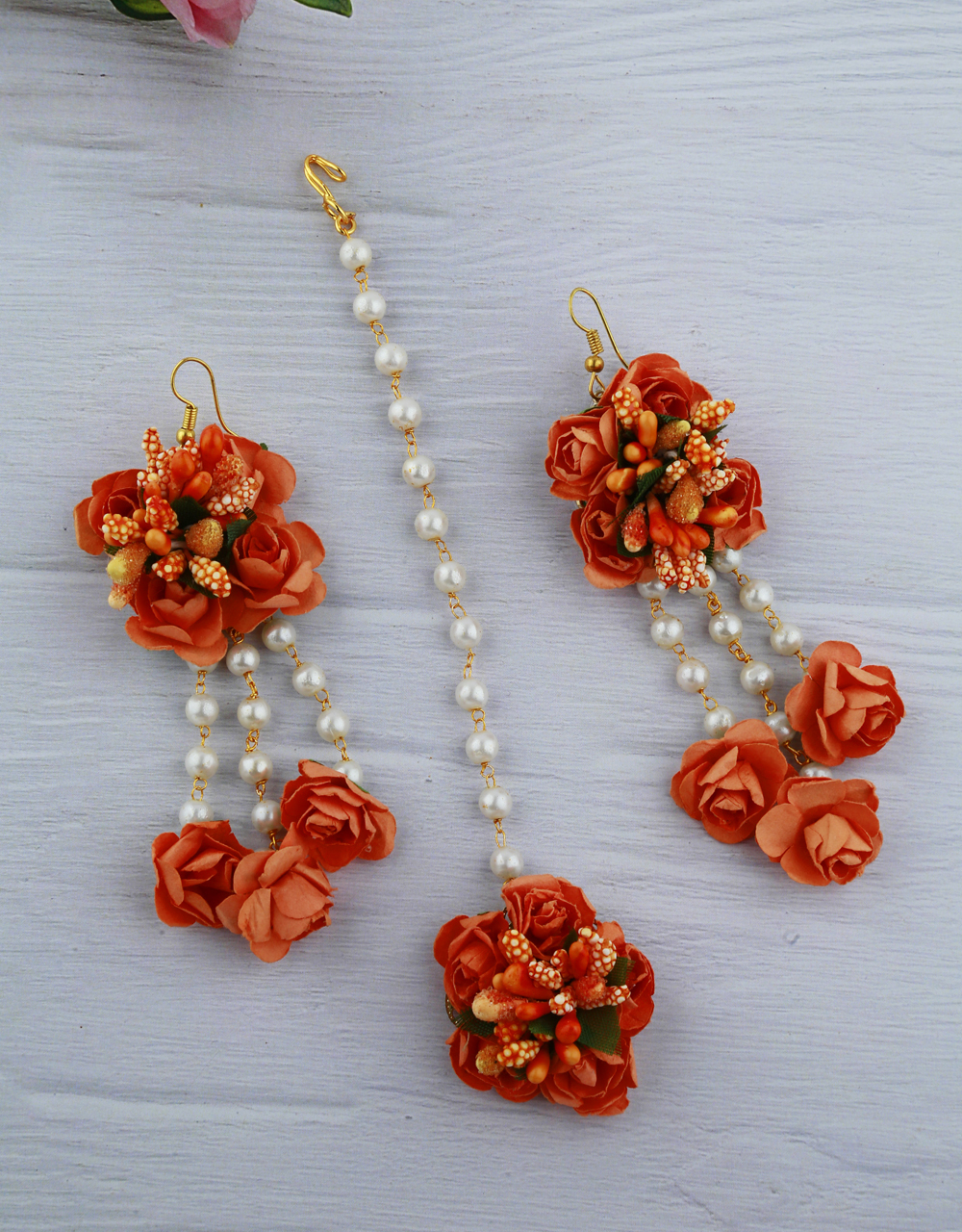 Peach Color Foam Flower With Pearl Beads Studded Droplet Earrings With Maang Tikka