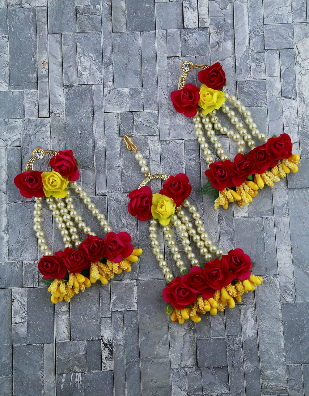 Ruby Pink And Yellow Color Foam Flower With Pearl Beads Studded Droplet Earrings With Maang Tikka