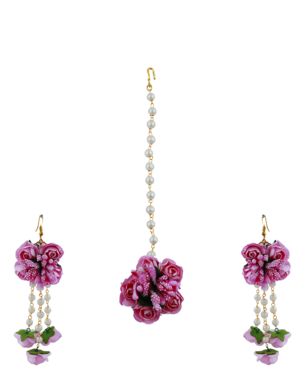 Baby Pink And Color Foam Flower With Pearl Beads Studded Droplet Earrings With Maang Tikka