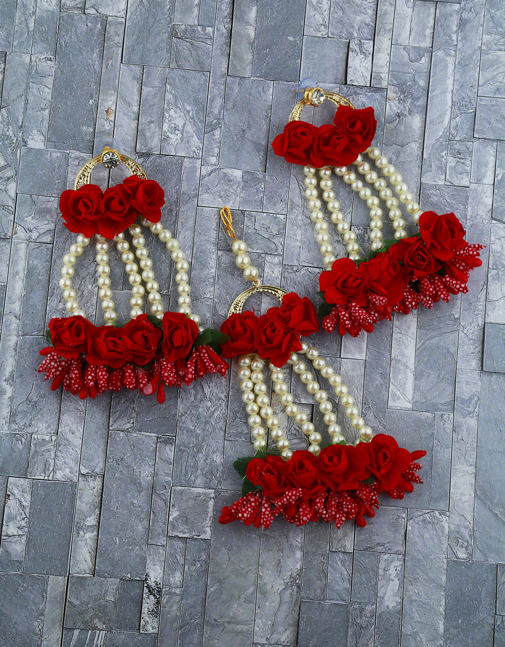 Dark Red And Color Foam Flower With Pearl Beads Studded Droplet Earrings With Maang Tikka