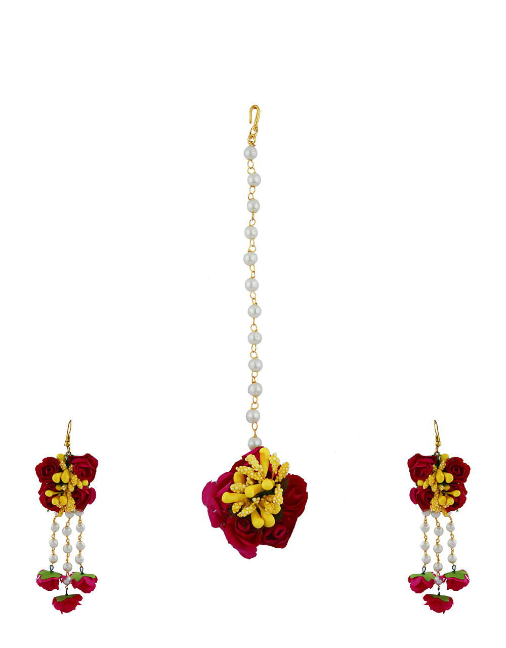 Ruby Pink And Yellow Color Foam Flower With Pearl Beads Studded Droplet Classy Earrings With Maang Tikka