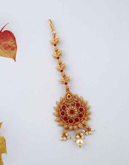 Beautiful Golden Finish Red Color Stones Studded With Pearl Droplet Maang Tikka For Woman