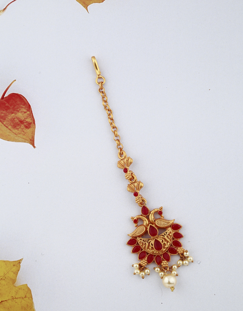 Peacock Design Red Stones Studded Classy Designer Gold-Plated Maang Tikka For Girls/ Woman.