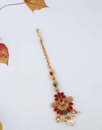 Beautiful Flower Design Red And Green Stones Studded Classy Designer Gold-Plated Maang Tikka For Girls/ Woman