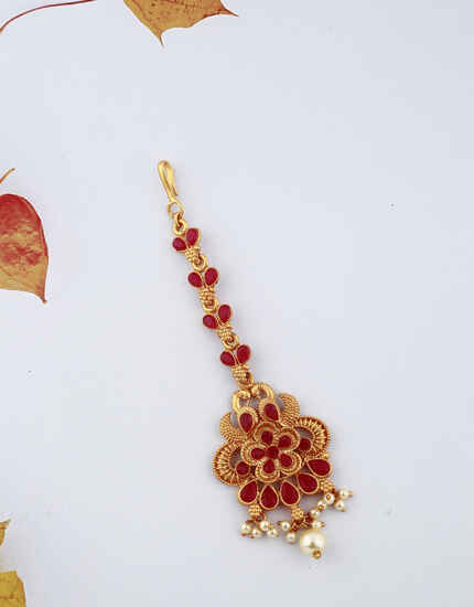Beautiful Flower Design Red Stones Studded Classy Designer Gold-Plated Maang Tikka For Girls/ Woman