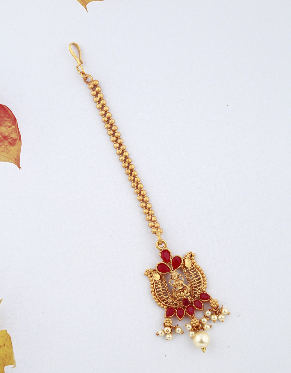 Temple Design Red Stones Studded Gold-Plated Maang Tikka For Girls/ Woman