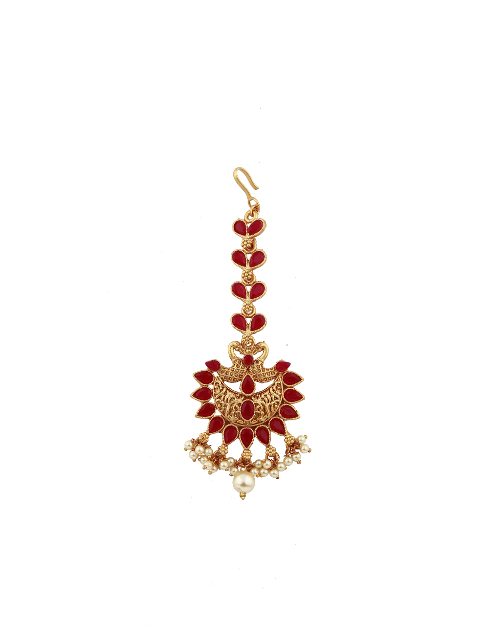 Peacock Design Red Stones Studded Latest Designer Gold-Plated Maang Tikka For Girls/ Woman
