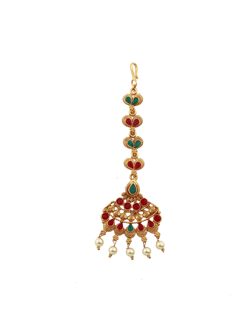 Cone Design Red And Green Stones Studded Gold-Plated Maang Tikka For Girls/ Woman