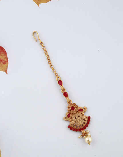 Golden Finish Red Stones Studded With Pearl Droplet Designer Maang Tikka