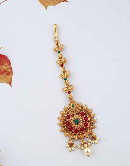 Adorable Golden Finish Red Color Stones Studded With Pearl Droplet Maang Tikka For Woman