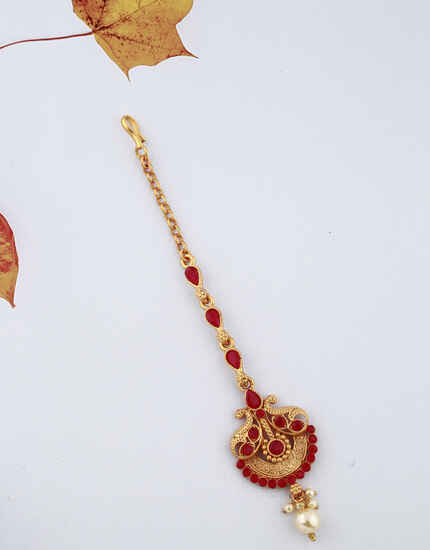 Beautiful Unique Design Red Stones Studded Classy Designer Gold-Plated Maang Tikka For Girls/ Woman