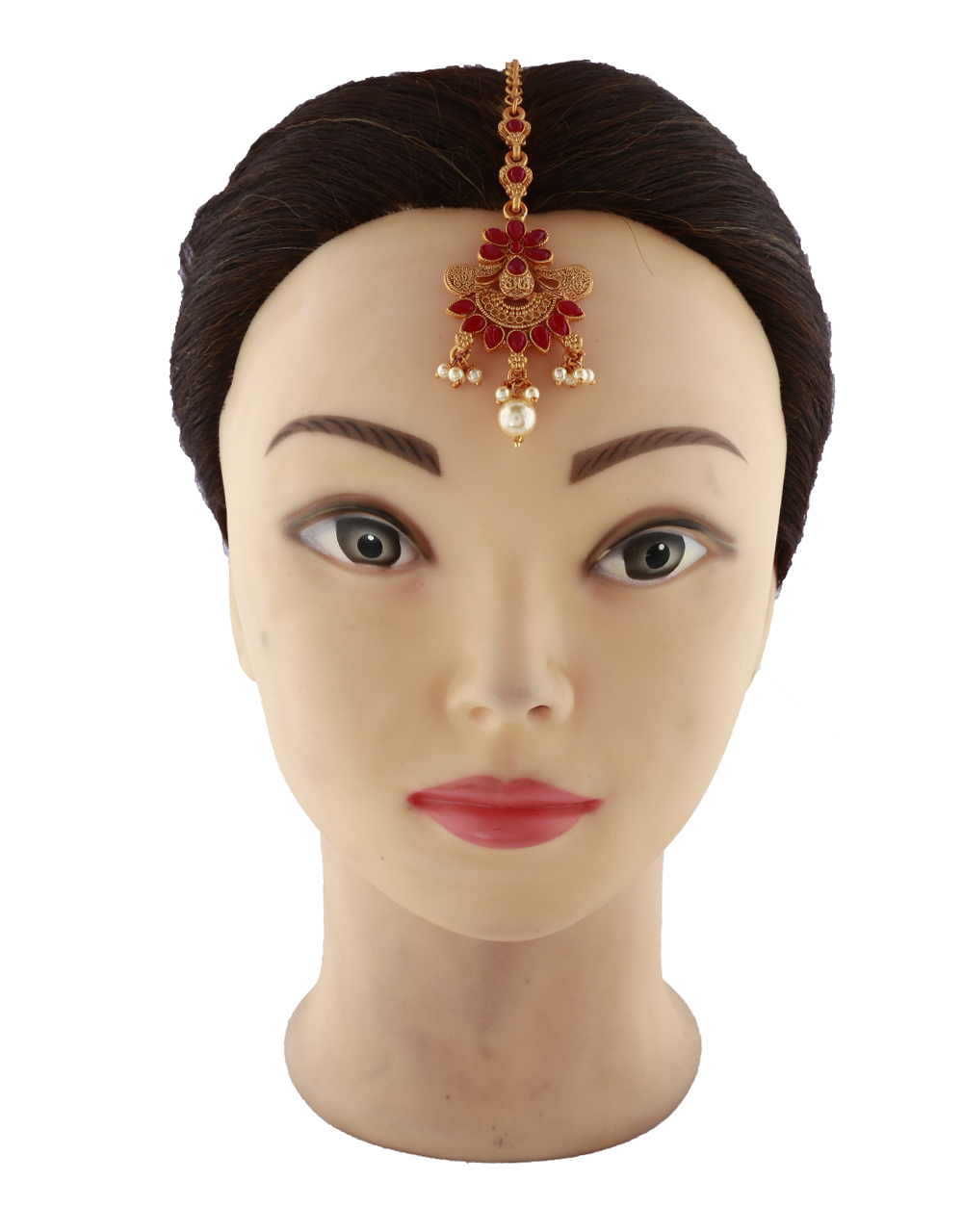Red Stone Studded Golden Finish With Pearl Droplet Maang Tikka For Woman