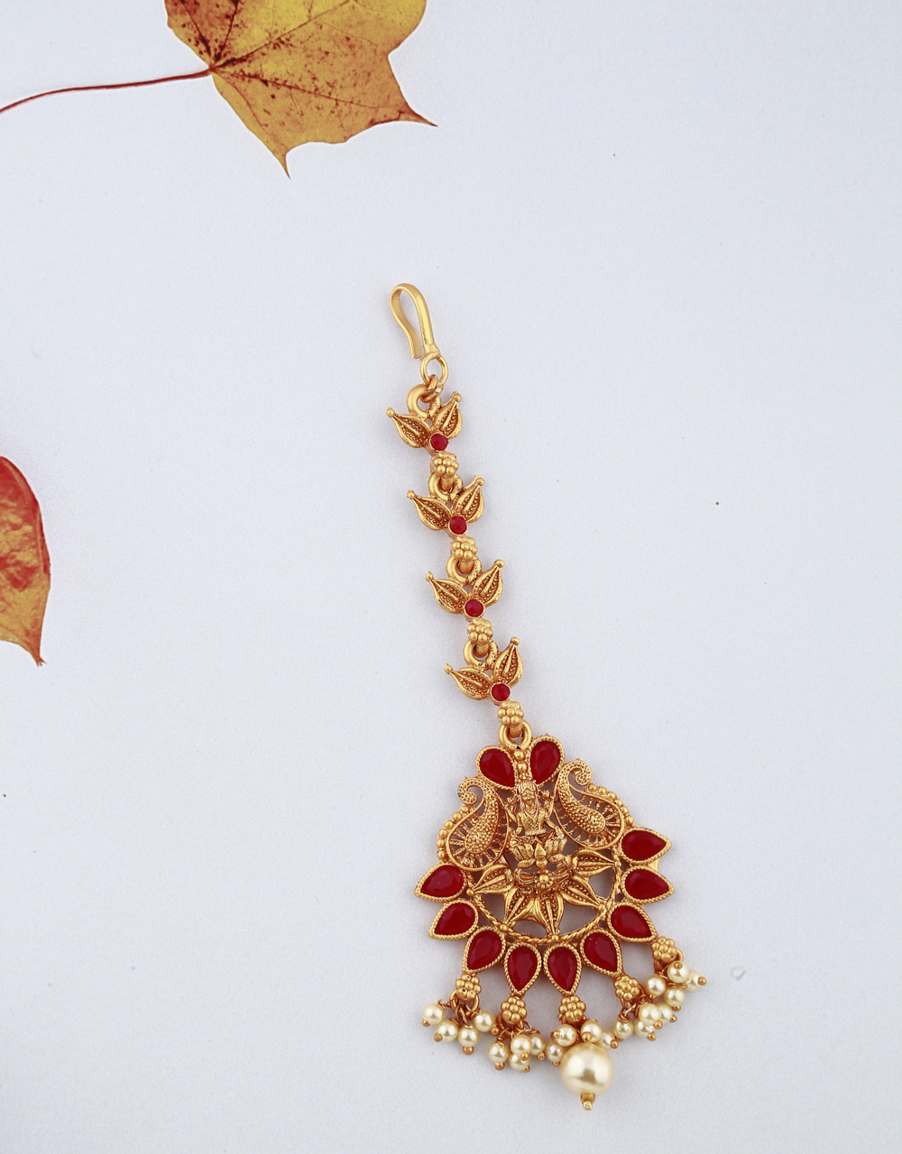 Temple Design Red Stones Studded Golden Finish Maang Tikka For Girls/ Woman