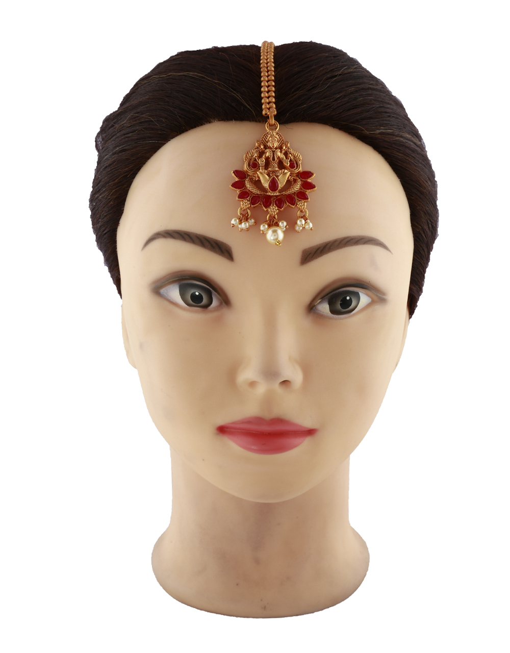 Temple Design Red Stones Studded Gold-Plated Maang Tikka For Girls/ Woman.