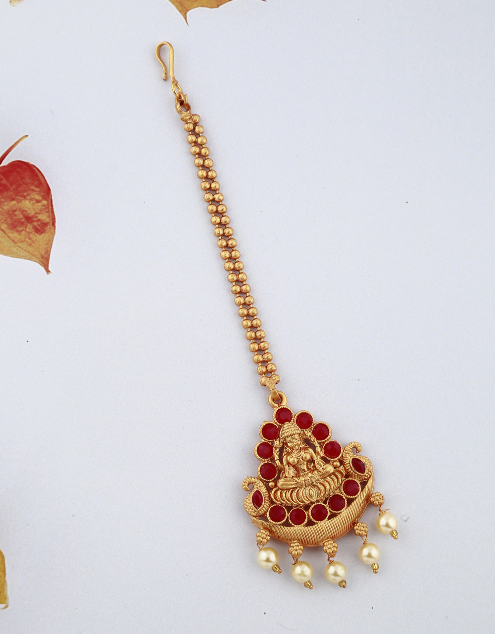 Golden Finish Red Color Stones Studded Temple Design Classy Maang Tikka For Woman/Girls