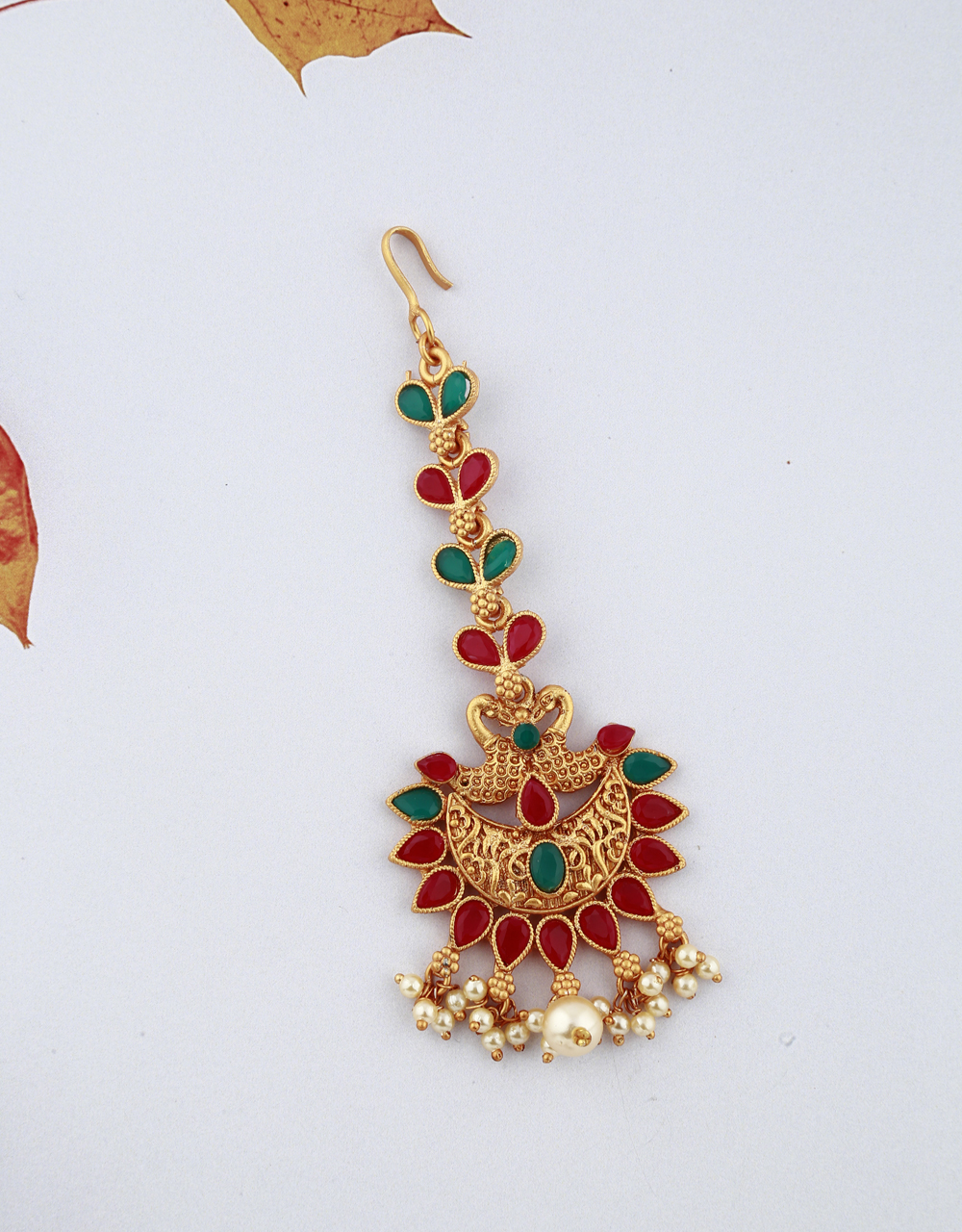 Temple Design Red And Green Stones Studded Gold-Plated Maang Tikka With Pearl Droplets
