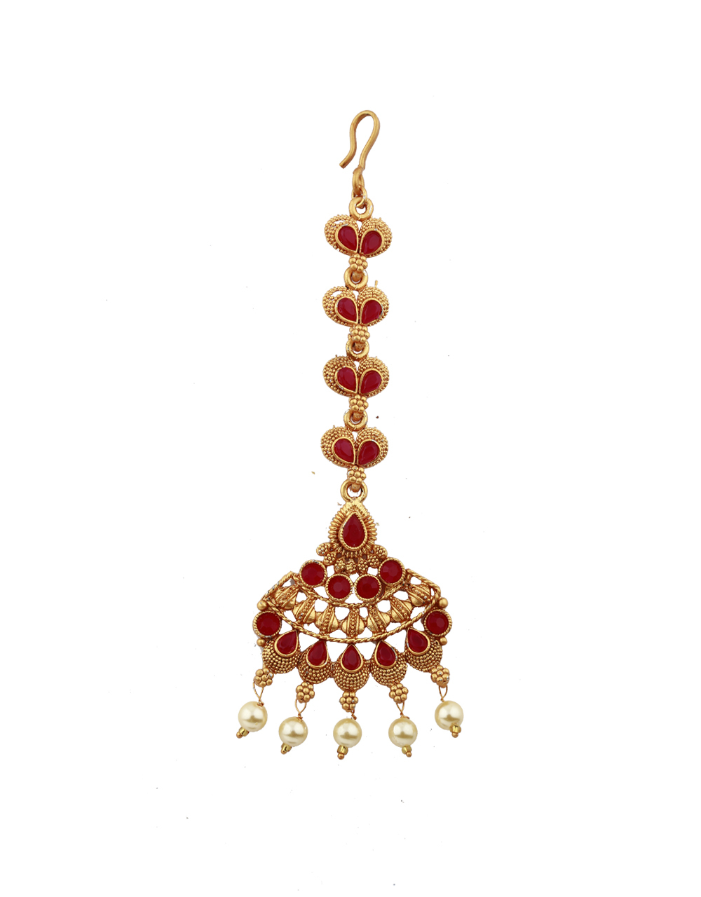 Cone Design Red Stones Studded Gold-Plated Maang Tikka For Girls/ Woman.