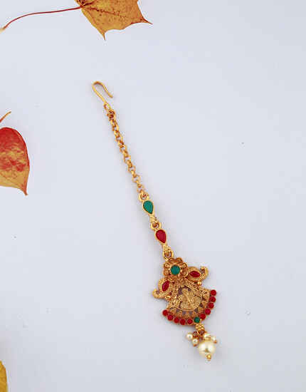 Beautiful Unique Design Red And Green Stones Studded Classy Designer Gold-Plated Maang Tikka For Girls/ Woman