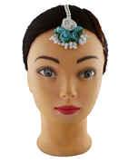 Beautiful Sky-Blue Color Foam Flower With Pearl Beads Chain Flower Jewellery Set