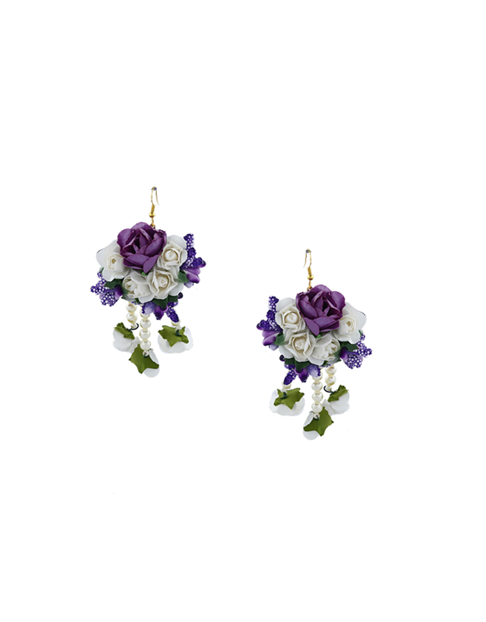 Beautiful Dazzling Lavender Color Foam Flower With Pearl Beads Chain Flower Jewellery Set