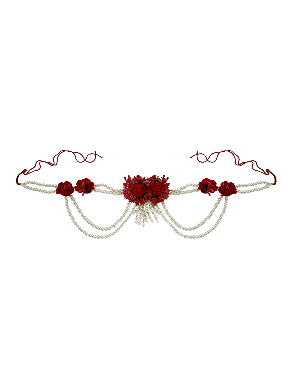 Beautiful Maroon Red Color Foam Flower With Pearl Beads Chain Flower Jewellery Set.