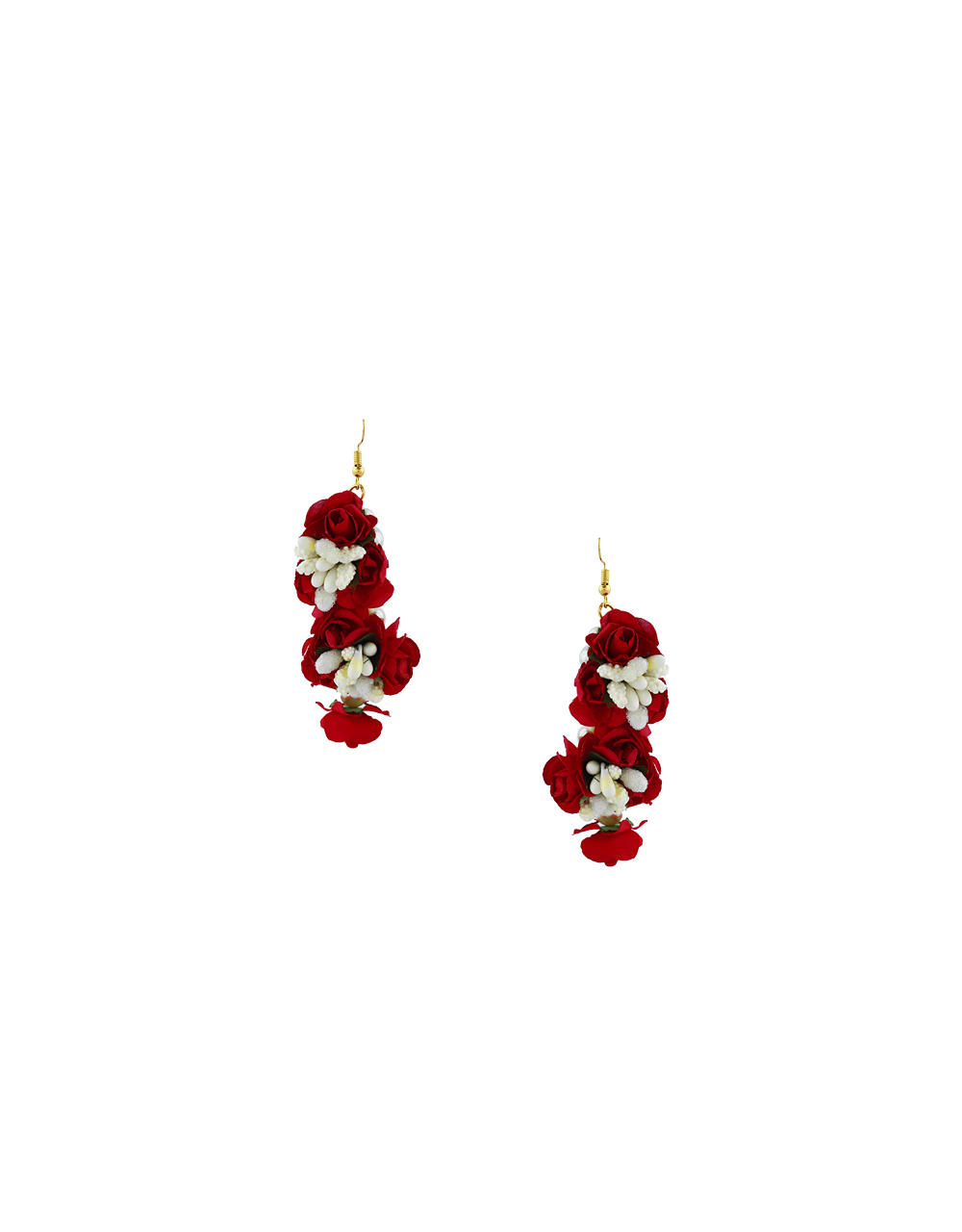 Beautiful White And Red Color Foam Flower With Pearl Beads Chain Flower Jewellery Set.