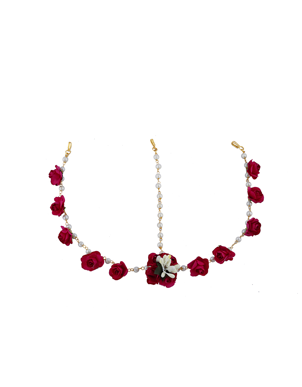 Beautiful White And Dark Ruby Pink Color Foam Flower With Pearl Beads Chain Flower Jewellery Set