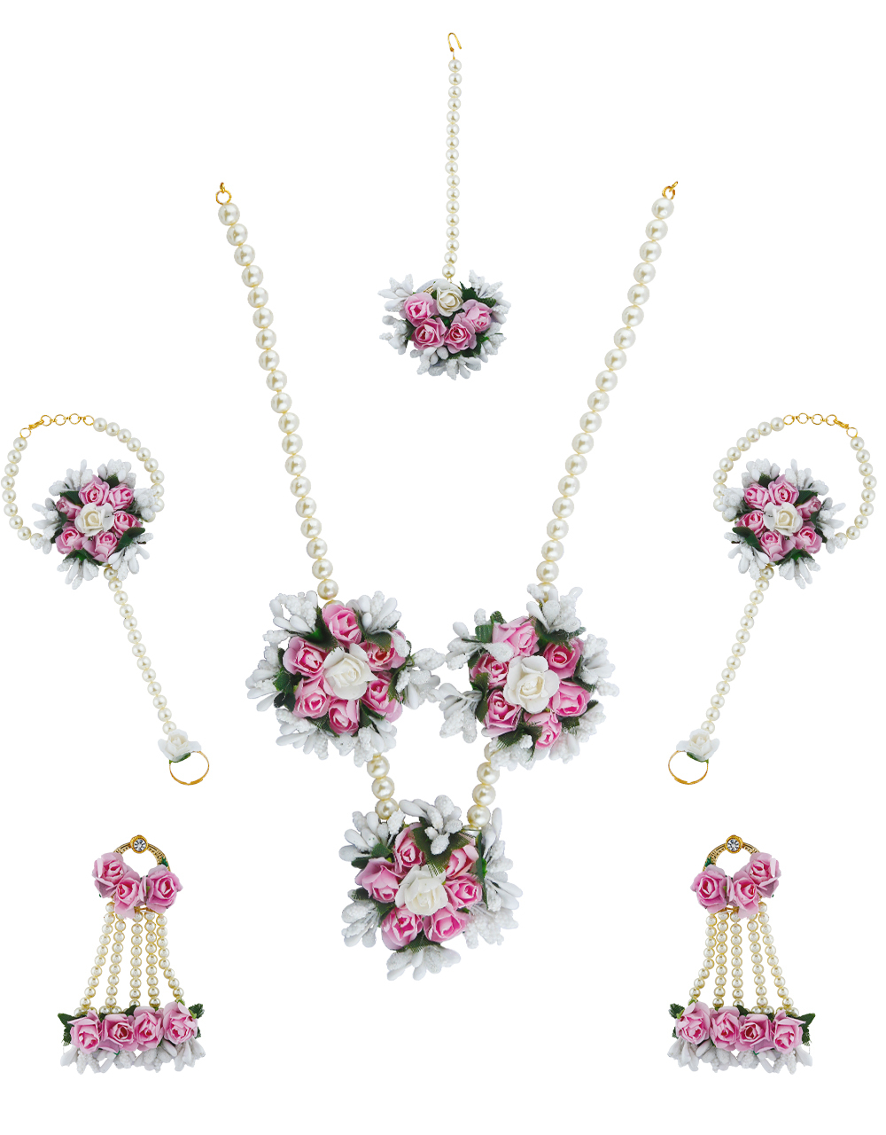 Beautiful Pink Color Foam Flower With Pearl Beads Chain Flower Jewellery Set