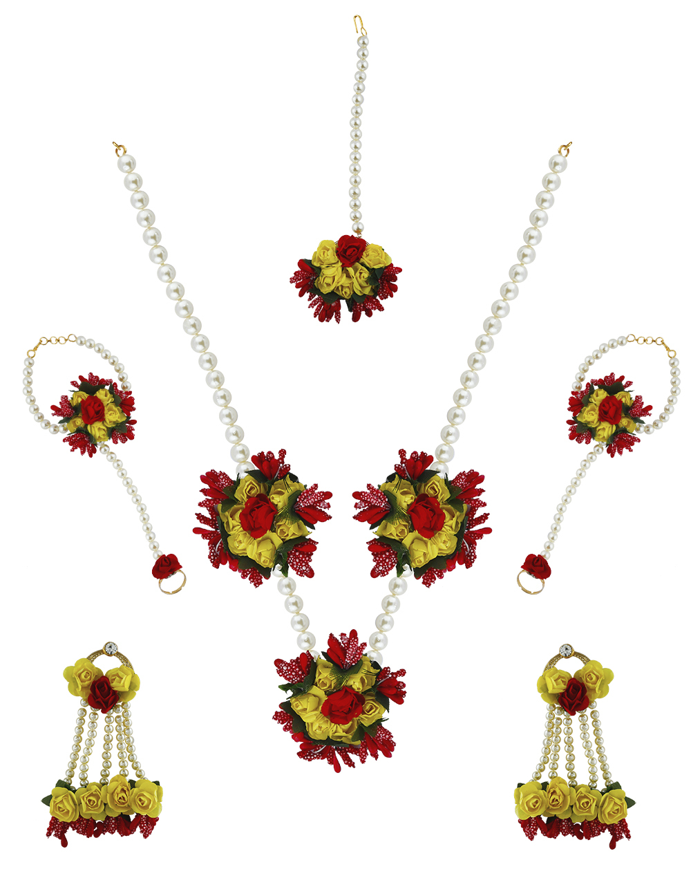Red And Yellow Colour Pearl Beads Studded Beautiful Flower Jewellery Set.