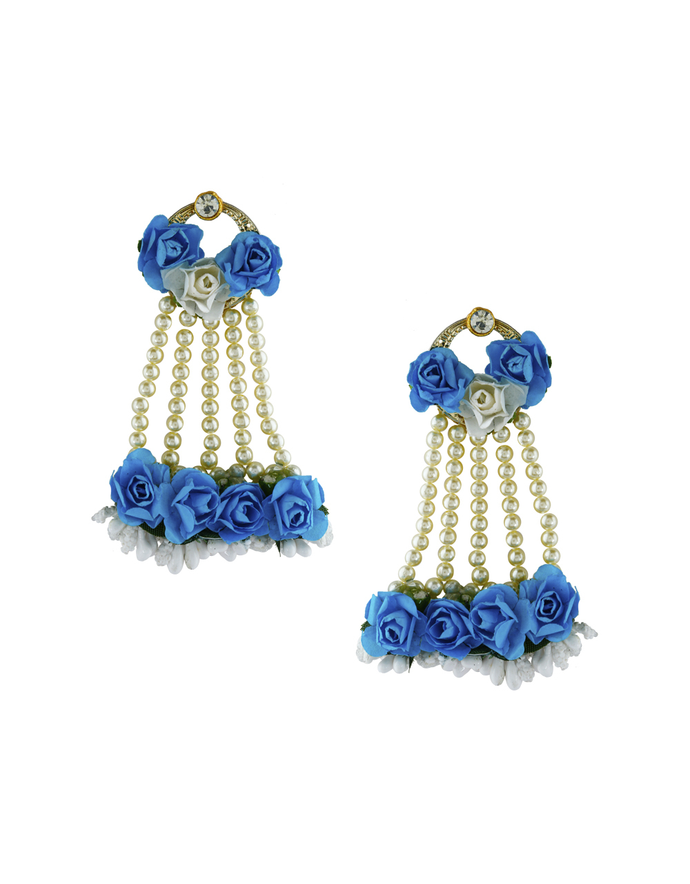 Navy Blue Colour Pearl Beads Studded Beautiful Flower Jewellery Set.