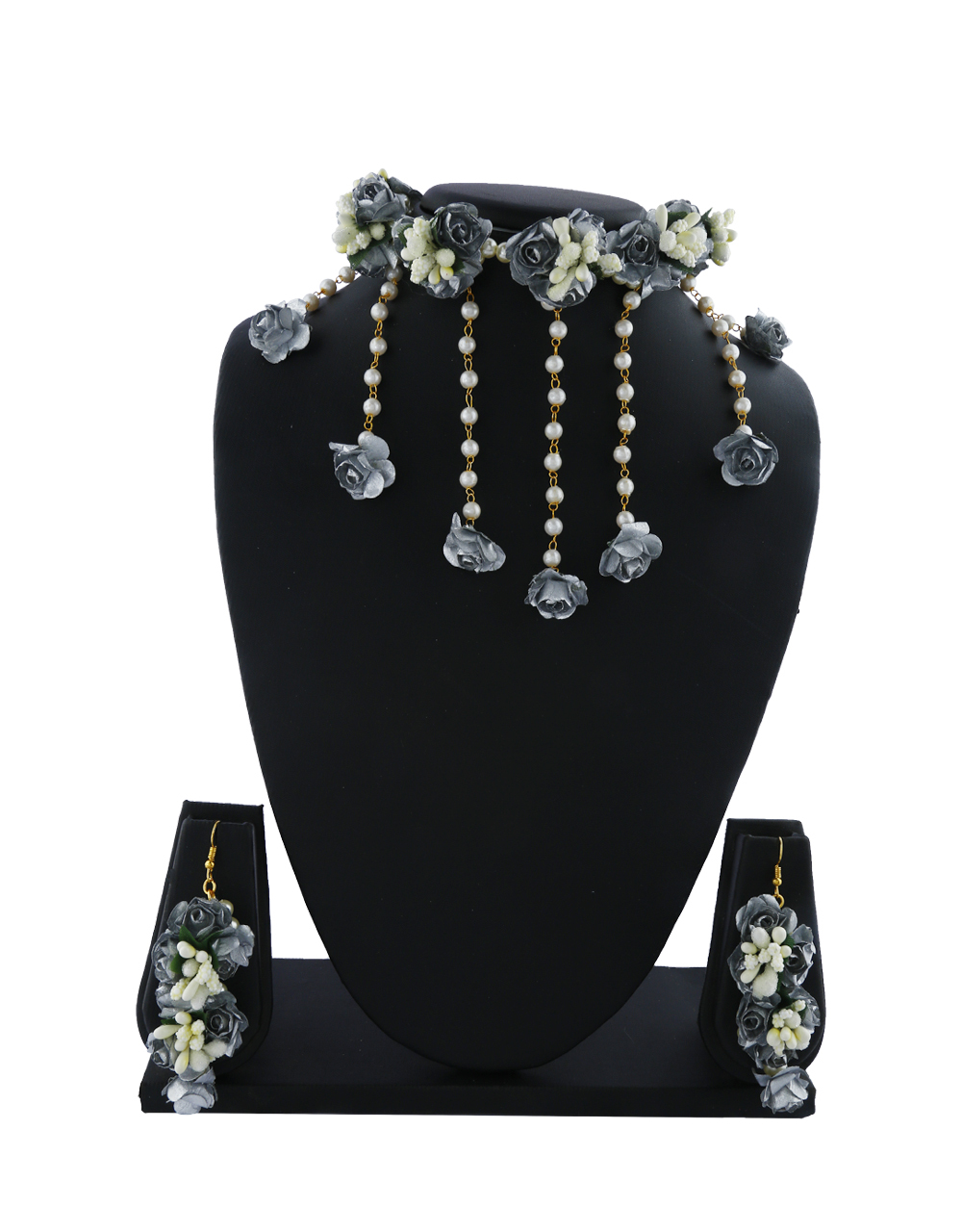 Grey And White Colour Pearl Beads Studded Beautiful Flower Jewellery Set