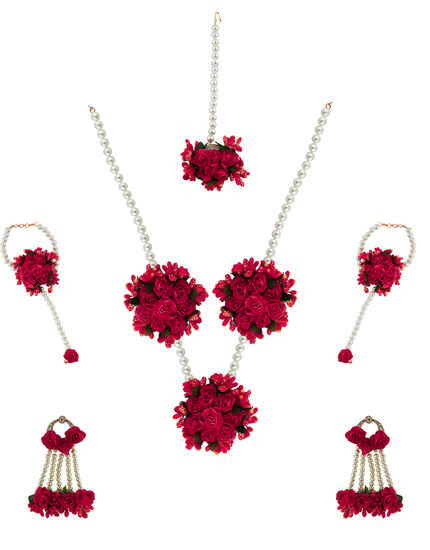 Ruby Pink Colour Pearl Beads Studded Beautiful Flower Jewellery Set