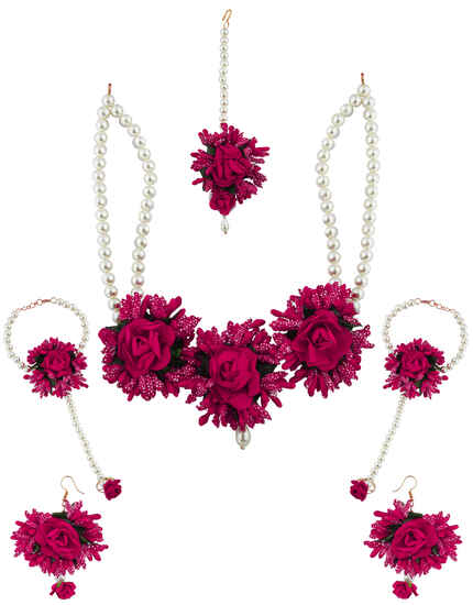 Bright Dark Pink Colour Pearl Beads Studded Beautiful Flower Jewellery Set