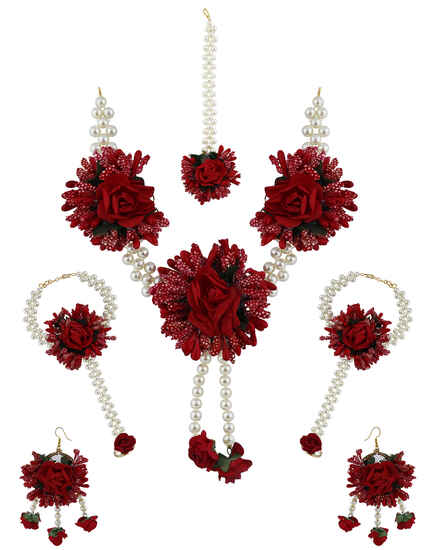Fresh Red Colour Pearl Beads Studded Beautiful Flower Jewellery Set