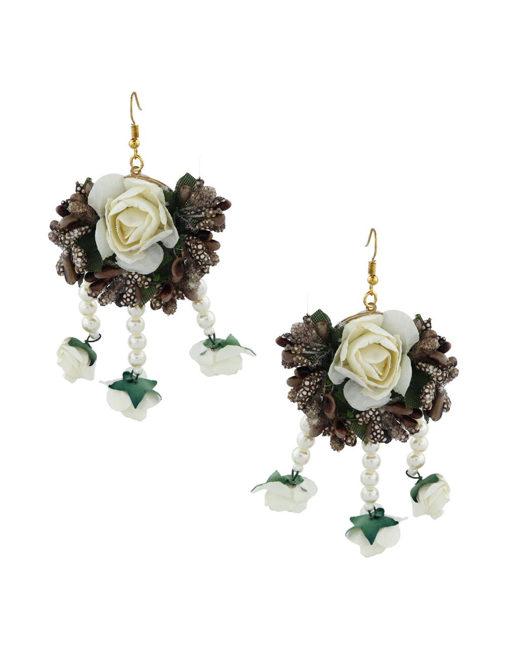 Light Brown And Off-White Colour Pearl Beads Studded Beautiful Flower Jewellery Set