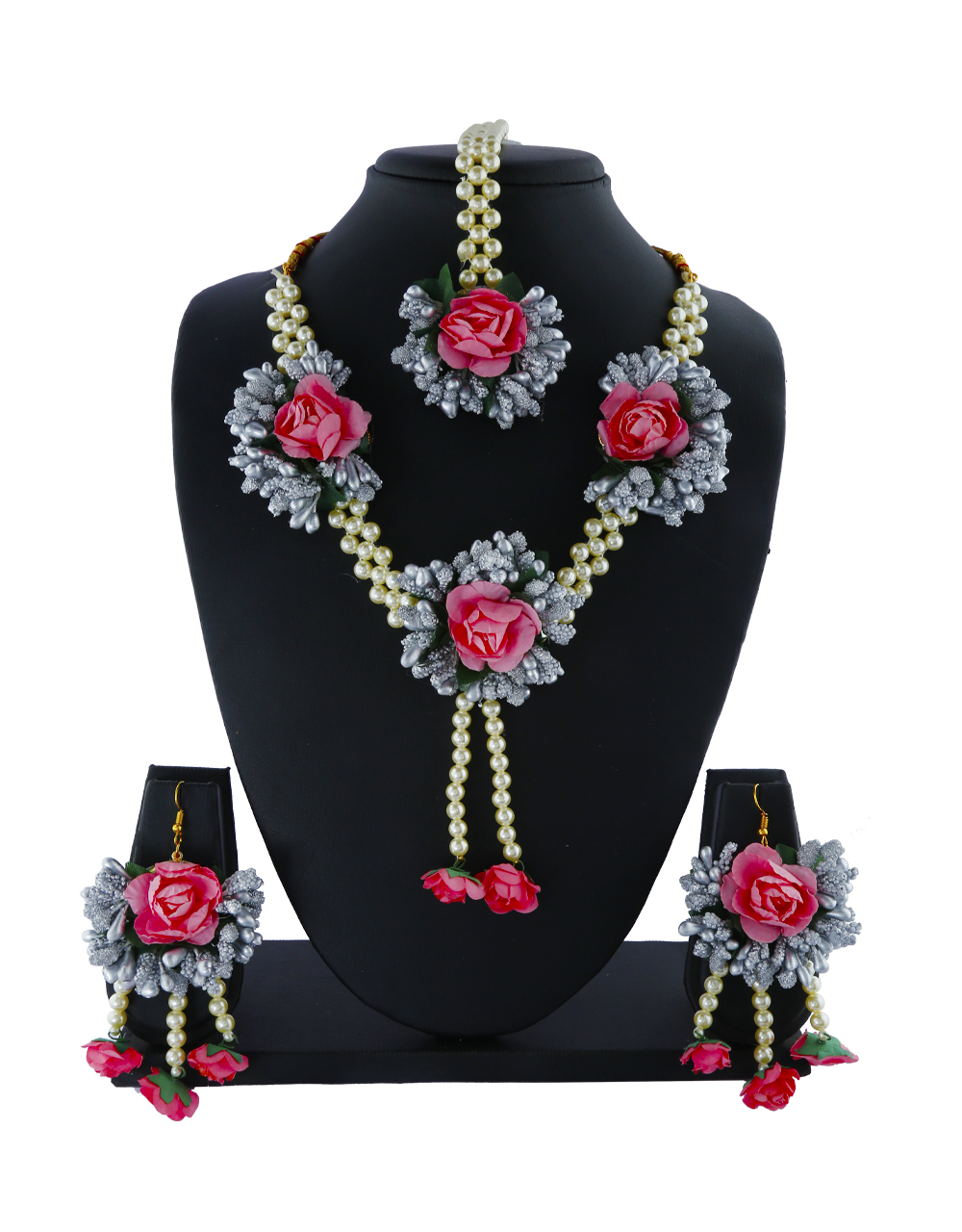Grey Pink Colour Pearl Beads Studded Beautiful Flower Jewellery Set
