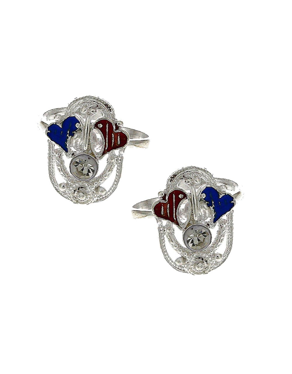 Attractive red and blue stone silver finish bichhudi for woman