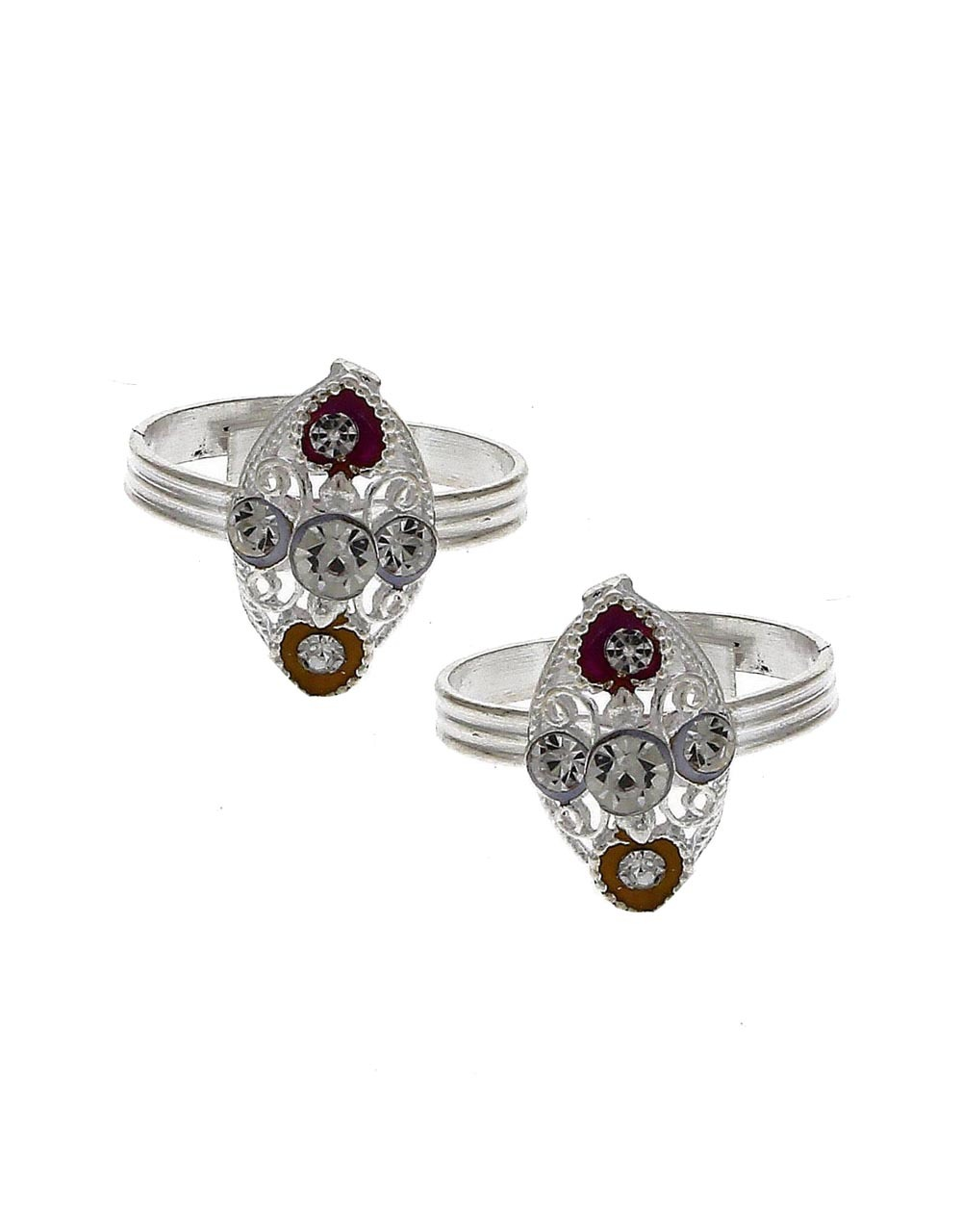 Attractive yellow and red stone silver finish bichhudi for woman