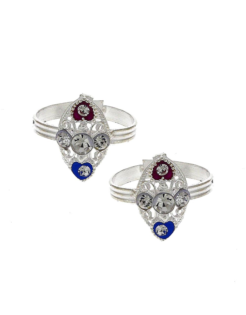 Attractive blue and red stone silver finish bichhudi for woman
