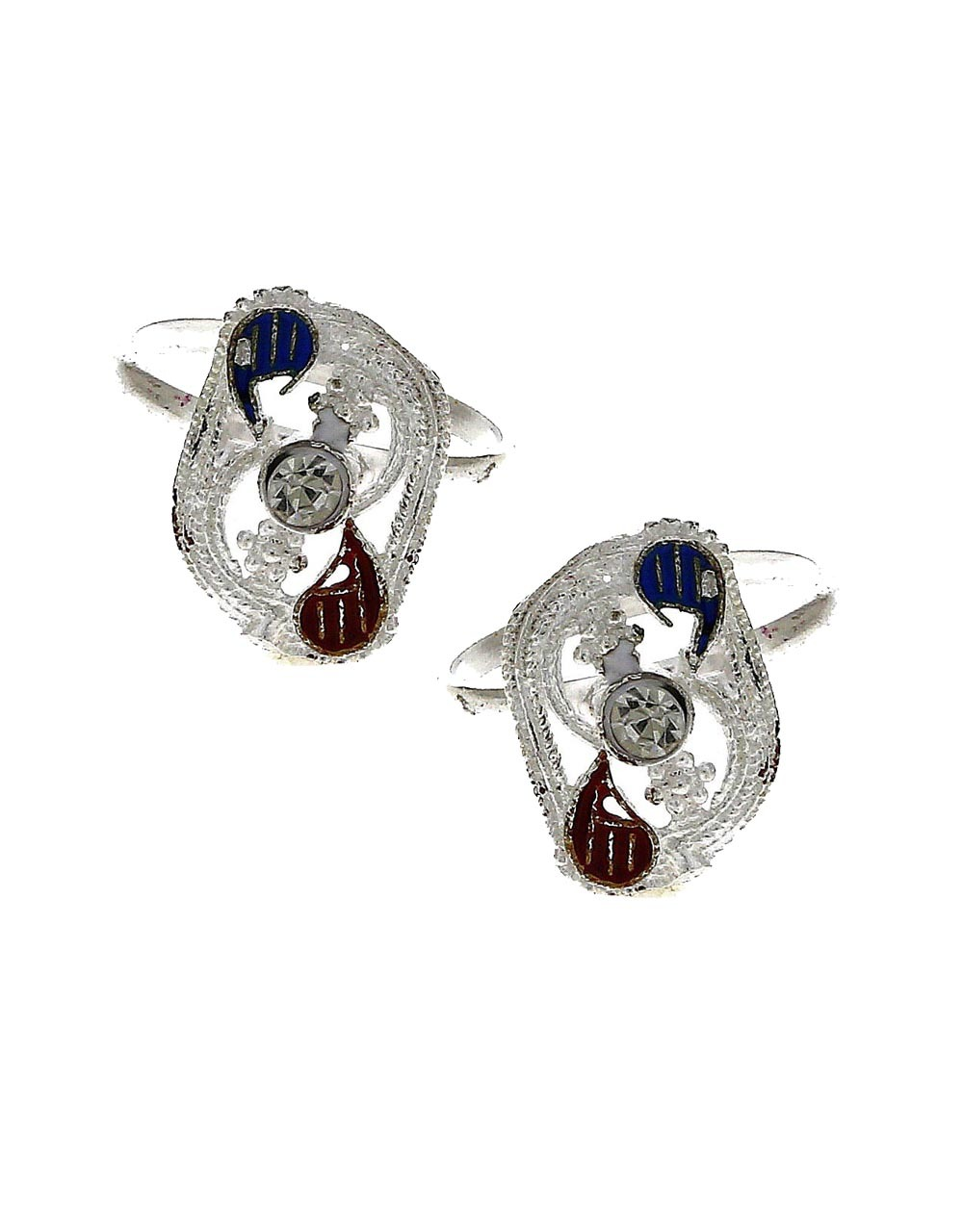 Attractive blue and maroon red stone silver finish bichhudi for woman