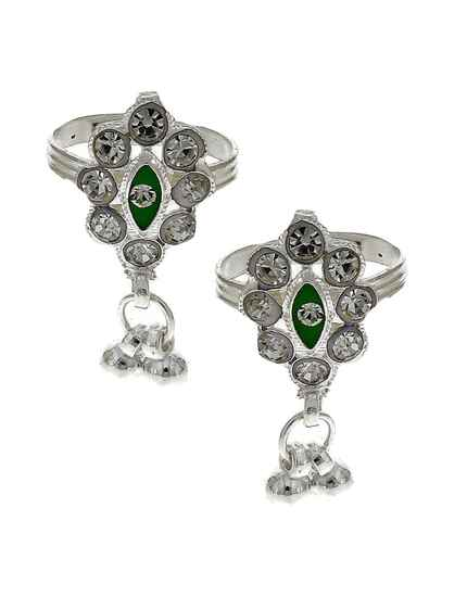 Attractive classic green stone silver finish bichhudi for woman