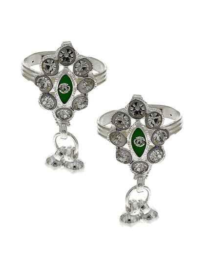 Attractive classic green stone silver finish bichhudi for woman