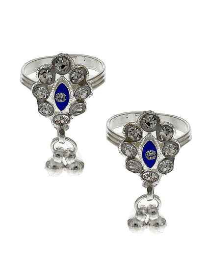 Attractive navy-blue stone silver finish bichhudi for woman