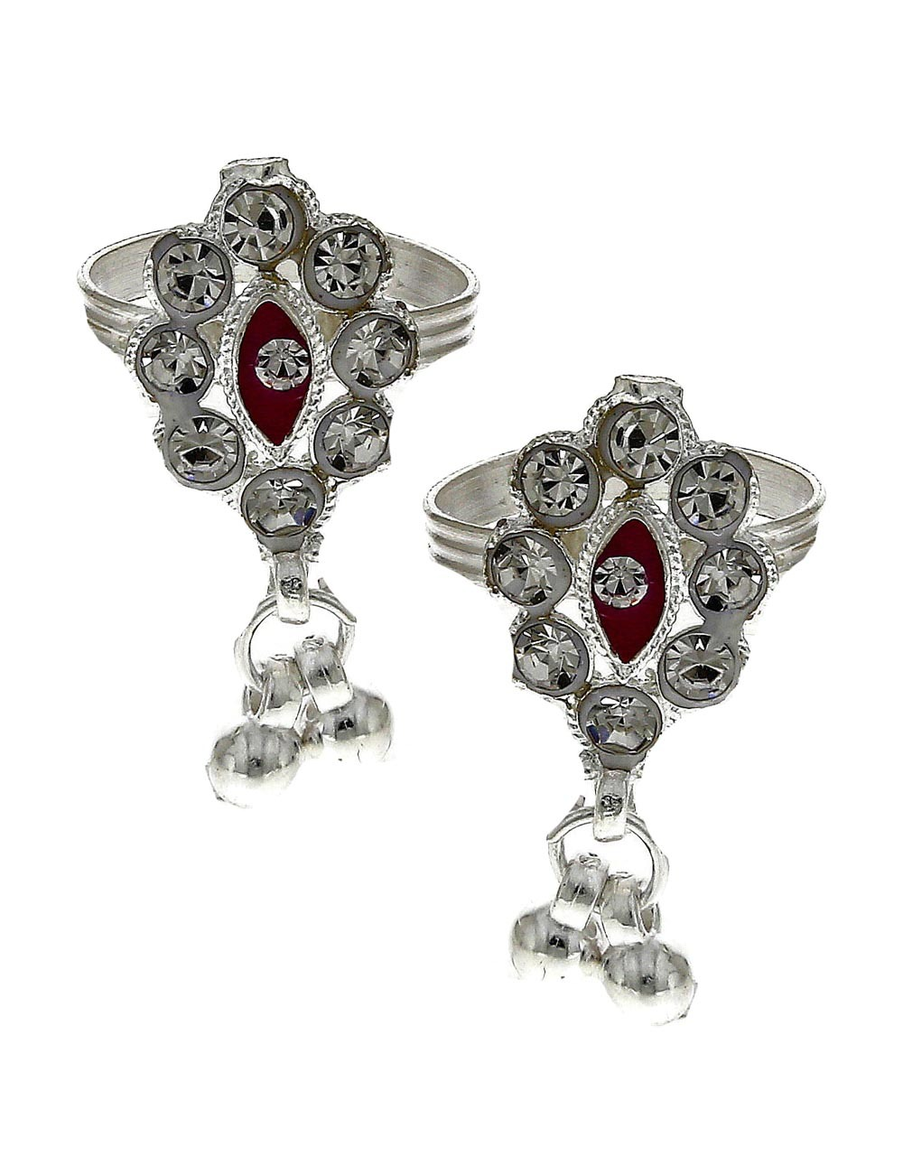 Attractive classic red stone silver finish bichhudi for woman