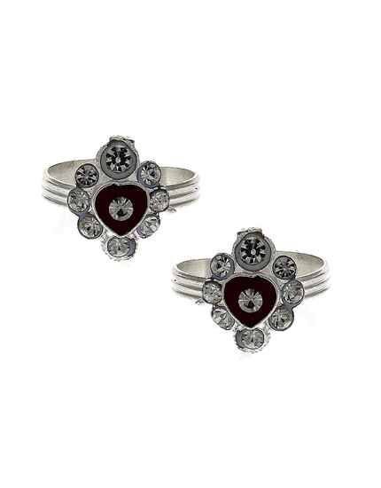 Attractive classic maroon red stone silver finish bichhudi for woman